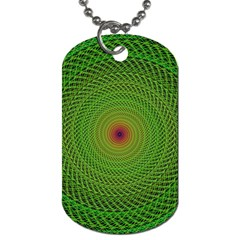 Green Fractal Simple Wire String Dog Tag (one Side)