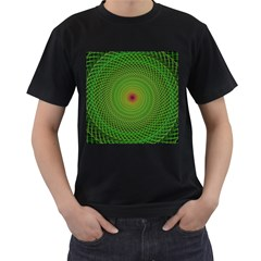 Green Fractal Simple Wire String Men s T Shirt (black) (two Sided)