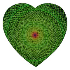Green Fractal Simple Wire String Jigsaw Puzzle (heart)