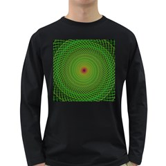 Green Fractal Simple Wire String Long Sleeve Dark T Shirts