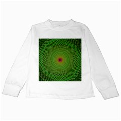 Green Fractal Simple Wire String Kids Long Sleeve T Shirts