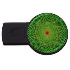 Green Fractal Simple Wire String Usb Flash Drive Round (4 Gb)