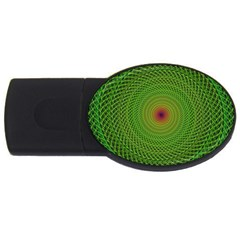 Green Fractal Simple Wire String Usb Flash Drive Oval (4 Gb)