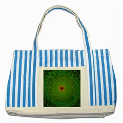 Green Fractal Simple Wire String Striped Blue Tote Bag