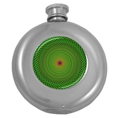 Green Fractal Simple Wire String Round Hip Flask (5 oz)