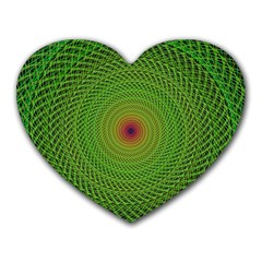 Green Fractal Simple Wire String Heart Mousepads