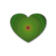 Green Fractal Simple Wire String Rubber Coaster (Heart)
