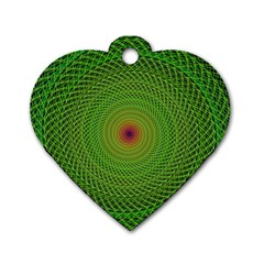 Green Fractal Simple Wire String Dog Tag Heart (two Sides)