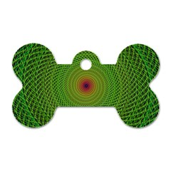 Green Fractal Simple Wire String Dog Tag Bone (two Sides)