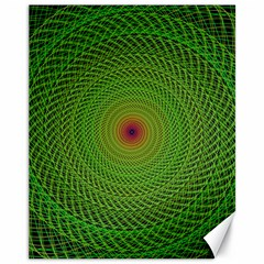 Green Fractal Simple Wire String Canvas 11  X 14