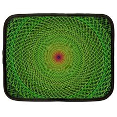 Green Fractal Simple Wire String Netbook Case (large)