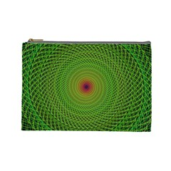 Green Fractal Simple Wire String Cosmetic Bag (large)