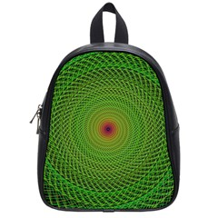 Green Fractal Simple Wire String School Bags (small)