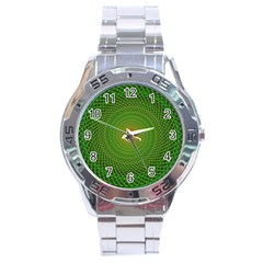 Green Fractal Simple Wire String Stainless Steel Analogue Watch