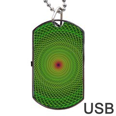 Green Fractal Simple Wire String Dog Tag Usb Flash (one Side)