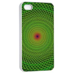 Green Fractal Simple Wire String Apple Iphone 4/4s Seamless Case (white)