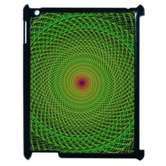 Green Fractal Simple Wire String Apple iPad 2 Case (Black)