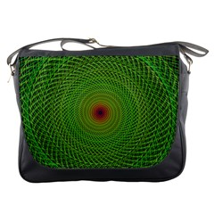 Green Fractal Simple Wire String Messenger Bags