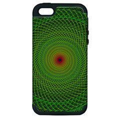 Green Fractal Simple Wire String Apple Iphone 5 Hardshell Case (pc+silicone)