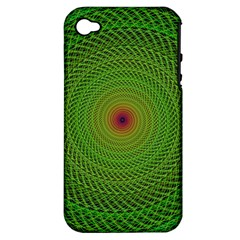 Green Fractal Simple Wire String Apple Iphone 4/4s Hardshell Case (pc+silicone)