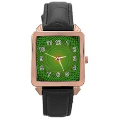 Green Fractal Simple Wire String Rose Gold Leather Watch