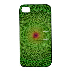 Green Fractal Simple Wire String Apple Iphone 4/4s Hardshell Case With Stand