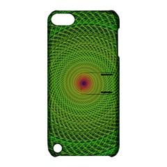 Green Fractal Simple Wire String Apple Ipod Touch 5 Hardshell Case With Stand