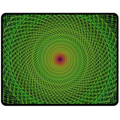 Green Fractal Simple Wire String Double Sided Fleece Blanket (medium)