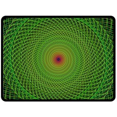 Green Fractal Simple Wire String Double Sided Fleece Blanket (Large)