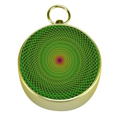 Green Fractal Simple Wire String Gold Compasses