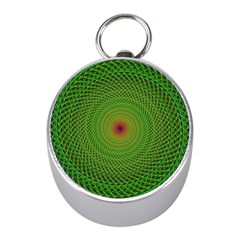 Green Fractal Simple Wire String Mini Silver Compasses