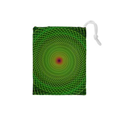 Green Fractal Simple Wire String Drawstring Pouches (small)