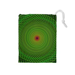 Green Fractal Simple Wire String Drawstring Pouches (medium)