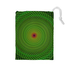Green Fractal Simple Wire String Drawstring Pouches (large)