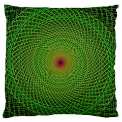 Green Fractal Simple Wire String Large Flano Cushion Case (One Side)