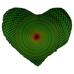Green Fractal Simple Wire String Large 19  Premium Flano Heart Shape Cushions
