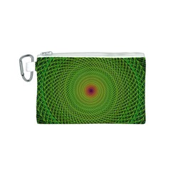 Green Fractal Simple Wire String Canvas Cosmetic Bag (s)