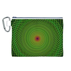 Green Fractal Simple Wire String Canvas Cosmetic Bag (L)