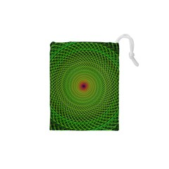 Green Fractal Simple Wire String Drawstring Pouches (xs)