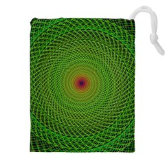 Green Fractal Simple Wire String Drawstring Pouches (xxl)
