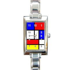 Mondrian Red Blue Yellow Rectangle Italian Charm Watch