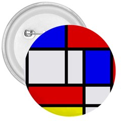 Mondrian Red Blue Yellow 3  Buttons