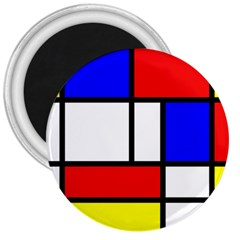 Mondrian Red Blue Yellow 3  Magnets