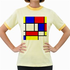Mondrian Red Blue Yellow Women s Fitted Ringer T Shirts
