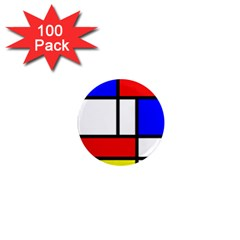 Mondrian Red Blue Yellow 1  Mini Magnets (100 Pack)