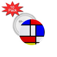 Mondrian Red Blue Yellow 1 75  Buttons (10 Pack)