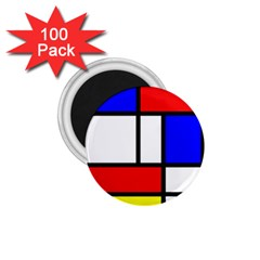 Mondrian Red Blue Yellow 1 75  Magnets (100 Pack)