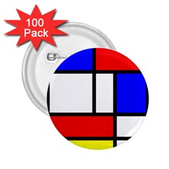 Mondrian Red Blue Yellow 2.25  Buttons (100 pack)