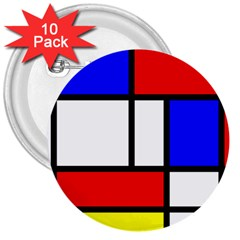 Mondrian Red Blue Yellow 3  Buttons (10 Pack)