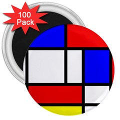 Mondrian Red Blue Yellow 3  Magnets (100 Pack)